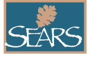 Medium teal sears logo with white re
